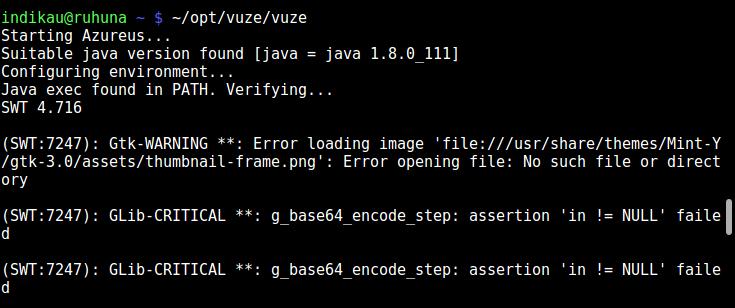GUI program output message