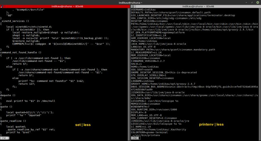 set and printenv commands